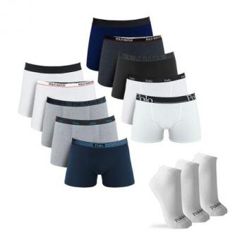 Kit com 10 Cuecas Boxer Cotton Sortidas e 3 Pares de Meia Cano Médio Branca G – Polo Match