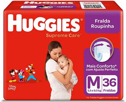 Fralda Roupinha Supreme Care, 36 Unidades, Huggies, Vermelha, M