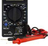 Multilaser Multímetro Digital Corrente Ac + Dc Tensão 200M~1000V Bateria 9V Preto – Au325