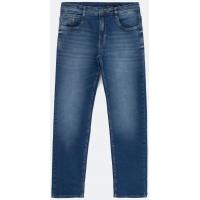 Calça Jeans Reta com Bolsos e Botão