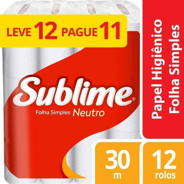 Papel Higiênico Sublime Folha Simples Neutro, 12 rolos