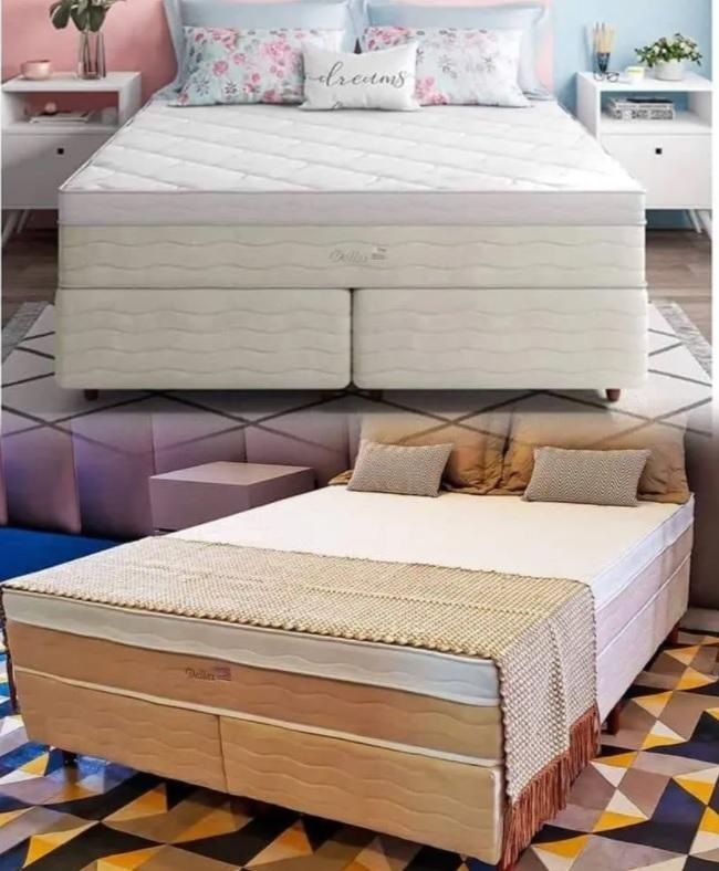 Cama Box Queen Size Premium Sommier + Colchão Queen Size Premium Dallas com Molas Pocket 69x158x198 cm – Bege