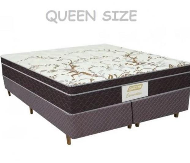 Cama Box Queen (Box + Colchão) Gazin – Mola Ensacada 63cm de Altura Esmeralda