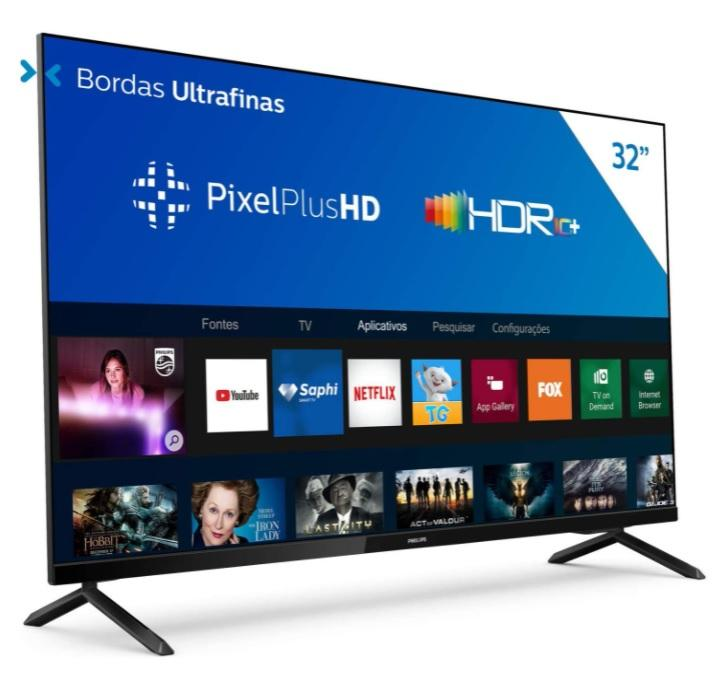Smart TV Philips 32PHG6825/78-32″ HD sem bordas, HDR Plus, 3 HDMI, 2 USB, Wifi Miracast, Conversor digital, Netflix, Youtube, Globoplay e Prime Video