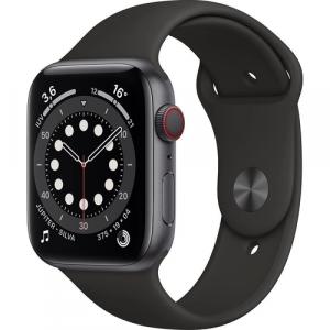 Apple Watch Series 6 44mm Caixa Cinza -Espacial e Pulseira Preta Esportiva