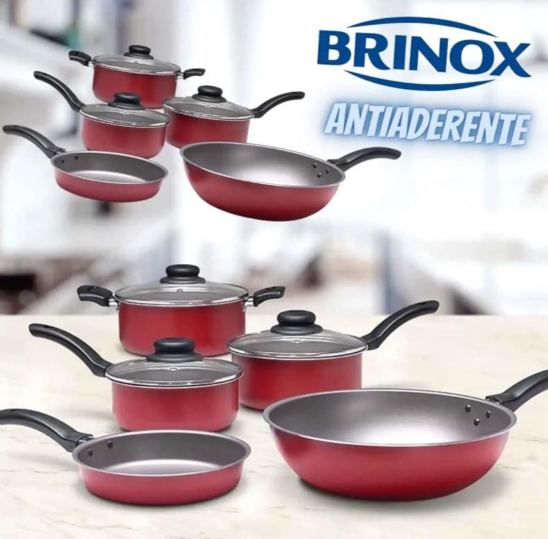 Conjunto de Panelas 5 Peças Brinox Ruby com Revestimento Interno Antiaderente Pro-Flon e Tampas de Vidro com Saída de Vapor – Vermelho