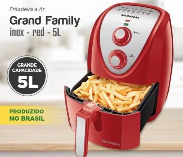Fritadeira Sem Óleo Mundial Air Fryer Grand Family Inox 5L Vermelha – 127V