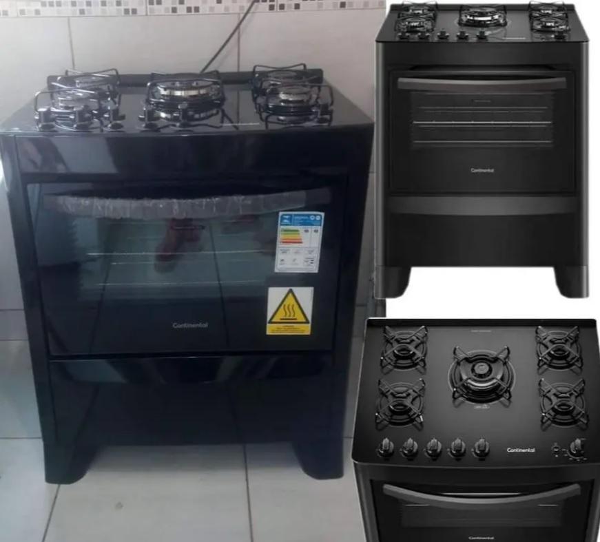 Fogão 5 Bocas Mesa de Vidro Continental Preto – Acendimento Automático FC5VP
