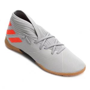Chuteira Futsal Juvenil Adidas Nemeziz 19 3 IN - Cinza