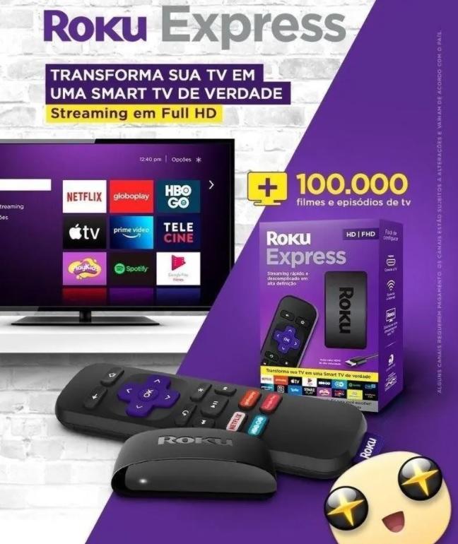 Roku Express – Streaming player Full HD. Transforma sua TV em Smart TV. Com controle remoto e cabo HDMI incluídos.