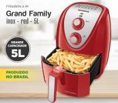 Fritadeira Sem Óleo Mundial Air Fryer Grand Family Inox 5L Vermelha – 220V