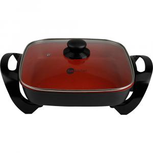 Panela Elétrica Fun Kitchen Quadrada 4L 1500W Preto com Revestimento Vermelho - CH40