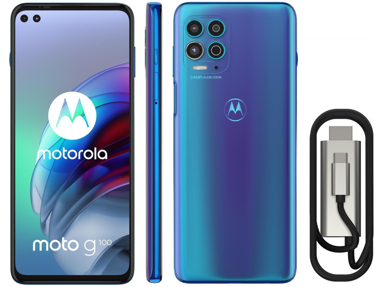 "Smartphone Motorola Moto G100 e Cabo USB-C/HDMI – 256GB Luminous Ocean 12GB RAM 6,7"" Câm. Quádrupla"