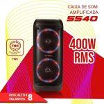Caixa de Som Amplificada Portátil TRC 5540 com Bluetooth, Controle Remoto, Entrada USB, Iluminação em Led, Microfone com Fio e TWS – 400W RMS