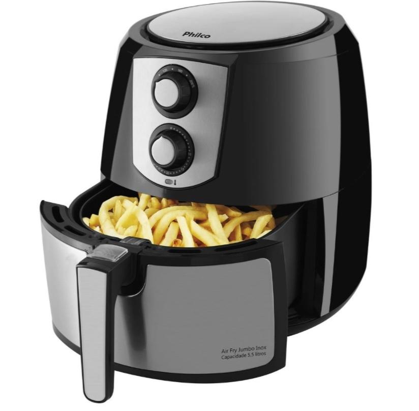 Fritadeira Sem Óleo Air Fryer Philco Jumbo Inox PFR06PI 5,5 Litros Preta/Inox