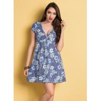 Vestido Floral com Decote Transpassado - Moda Pop