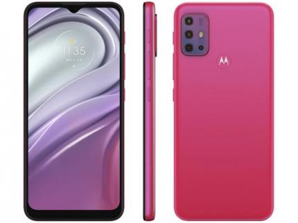 "Smartphone Motorola Moto G20 64GB Pink 4G – 4GB RAM Tela 6,5"" Câm. Quádrupla + Selfie 13MP"