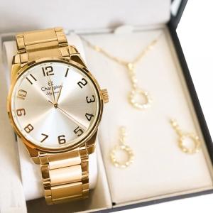 Relógio Champion Feminino Analógico Dourado CN29409D Prova D'Água + Colar e Brincos